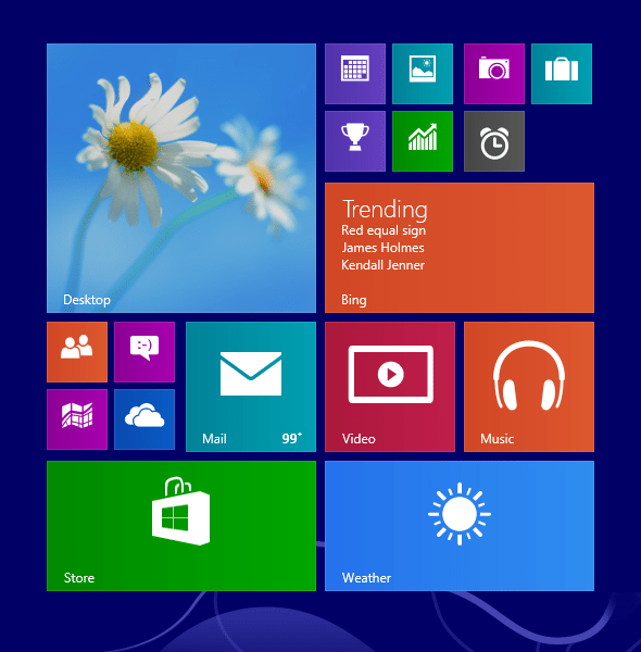 An example of Windows 8.1 Tile Sizes