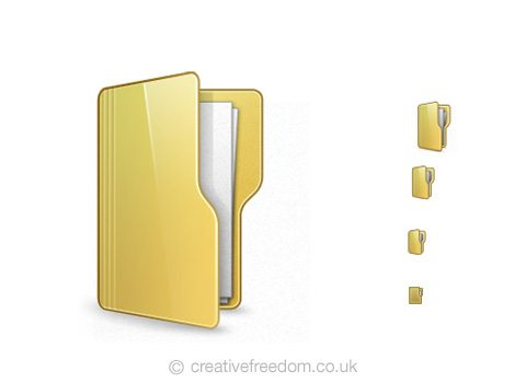 Free Folder Icon, could be used to represent Open Folder, or Project icon.