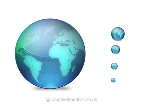 Free World Globe Icon, could be used to represent Earth, Travel, or Internet icon.