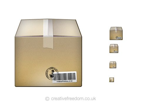 Free Box Icon, could be used to represent a Package, Parcel, Shipping or Delivery icon.