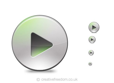 Free Play Button Icon, could be used to represent Play Music or Multimedia icon.