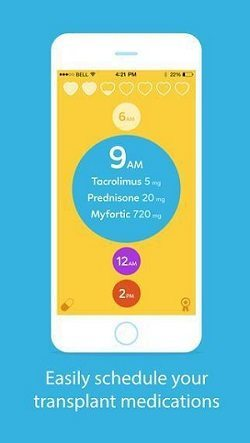 Image of Transplant Hero app, designed to remind transplant patients to take their medication.
