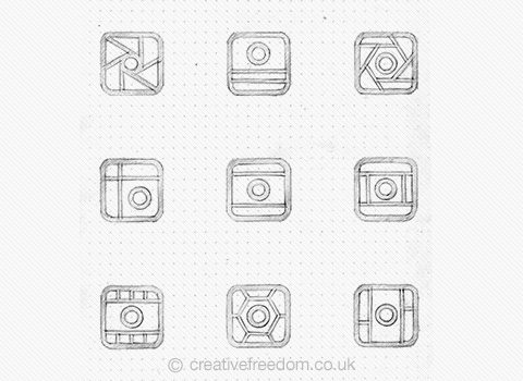 Mixgram iOS App Icon Concept Sketches