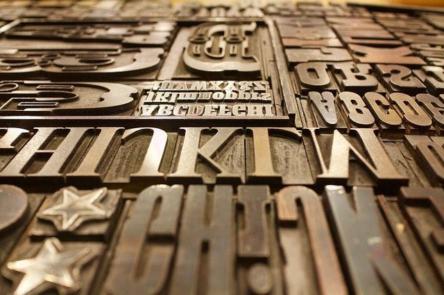 Fonts on a printing plate