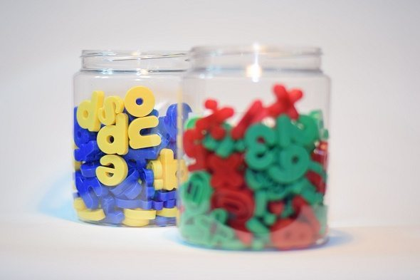 Jars filled with letters