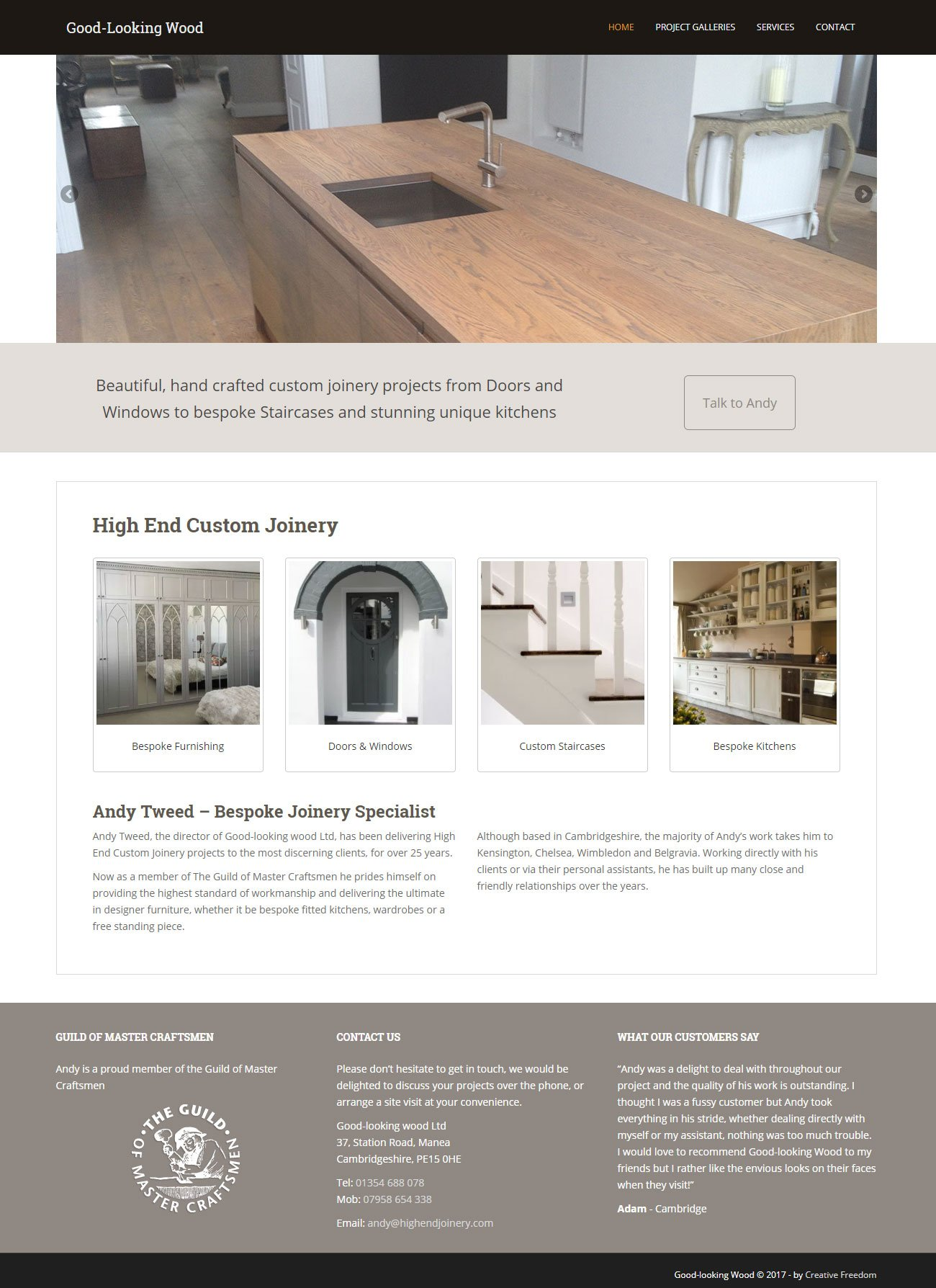 high end joinery WordPress website design