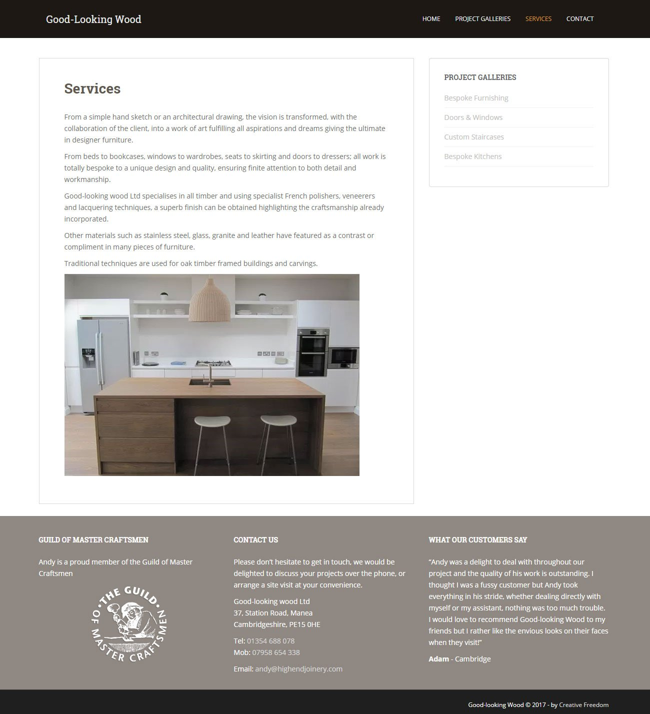 highend joinery WordPress web design